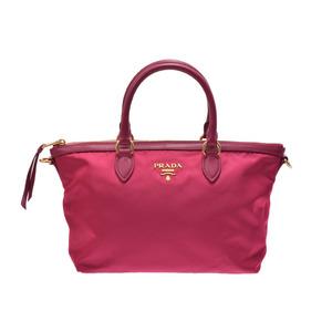 Prada 2WAY handbag pink type 1BA104 women s nylon leather unused beautiful  goods PRADA strap attaching Gala b0391c4b02bdc