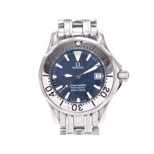 Omega Seamaster 300 blue dial 2583.80 Ladies' SS quartz wristwatch A rank beautiful goods OMEGA used silver storage