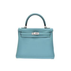 Hermes Kelly 25 Blue Saint-Ciel SV Metallurgy T Engraving Women's Swift 2 Way Handbag New Homemade Item HERMES Used Ginza