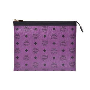 MCM Pouch Novelty Purple Men's Women's Calf Clutch Bag A rank 美 品 Used Ginza