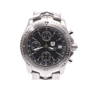 Tag Heuer Link Chrono CT2111 Black character board Men's SS automatic winding wristwatch A rank beautiful goods TAG box gala second hand silver storage