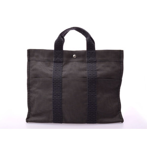 Hermes ale line MM gray women's men's canvas tote bag A rank HERMES second hand silver storage