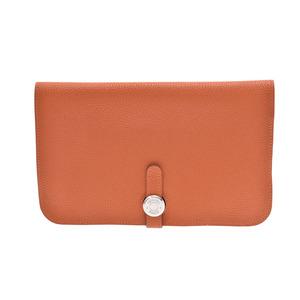 HERMES Dogon GM Orange □ L Engraved Ladies' Men's Wallet A Rank Box Used Ginza