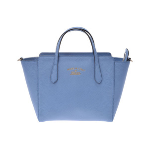 Gucci Swing Tote Bag Mini Blue Ladies Calf Shin Kyoko Item GUCCI with Strap Used Ginsho