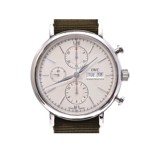 IWC port Finino Chrono IW391007 Silver dial face Men's SS / Nylon automatic winding wristwatch A rank 美 品 Used silver store