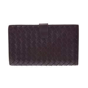 Bottega Veneta Fastener length wallet Intorechat dark brown system men's ladies lambskin B rank BOTTEGA VENETA second hand silver storage