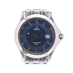 Omega Seamaster 120 m blue dial ladies' SS quartz wristwatch A rank 美 品 OMEGA second hand silver storage