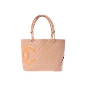 Chanel Cambon Line Large Tote Bag Beige Ladies Lambskin B Rank CHANEL Galler Used Ginza