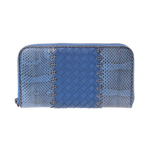 Bottega Veneta round fastener length wallet Intorechato blue men's ladies leather / Python B rank BOTTEGA VENETA second hand silver storage