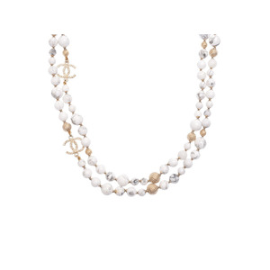 Chanel long necklace marble women's GP 16 year model A rank beautiful goods CHANEL secondhand silver storage