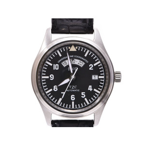 IWC freeger UTC black letter board IW 3521 - 001 Men's SS / leather automatic winding wrist AB rank beautiful goods secondhand silver storage