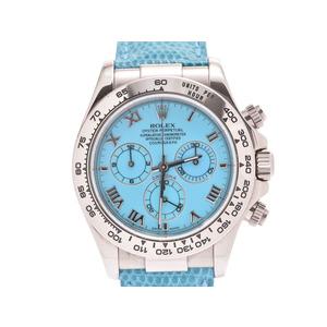 ロレックス デイトナビーチ ターコイズ文字盤 116519 K番 メンズ WG/革 ベルト新品 自動巻 腕時計 Aランク 美品 ROLEX 中古 銀蔵