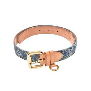 Louis Vuitton Monogram Denim Saint-Ciel Blue Men's / Genuine Leather Belt B Rank LOUIS VUITTON Used Ginza