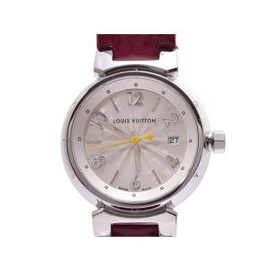 ルイヴィトン タンブール ホログラム Q121K シルバー文字盤 レディース SS/革 クオーツ 腕時計 Aランク 美品 LOUIS VUITTON 箱 ギャラ 中古 銀蔵