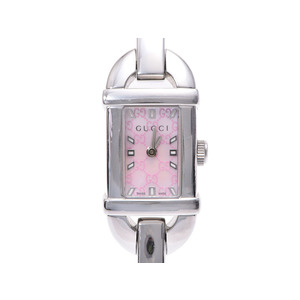 Gucci 6800L pink shell face ladies' SS quartz wristwatch AB rank GUCCI box gallery used silver stock