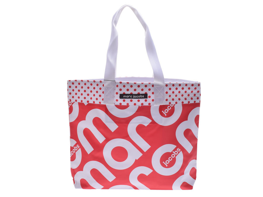 660ef6fd50fd Authentic Marc Jacobs Print Tarpaulin Tote Bag Red   White Ladi  802000153253000