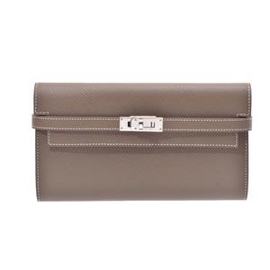 Hermes Kelly Wallet Etoup SV metal fitting C Engraved mens ladies Epson wallet unused beautiful goods HERMES box second hand silver storage