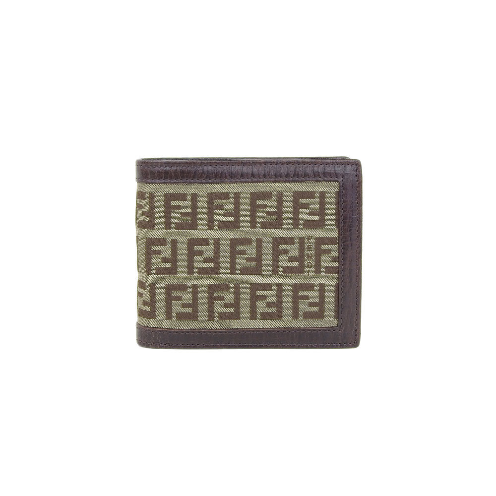 Genuine FENDI Fendi Zucca Folded Wallet Brown Purse Leather