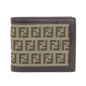 Genuine FENDI Fendi Zucca Folded Wallet Brown Purse Leather