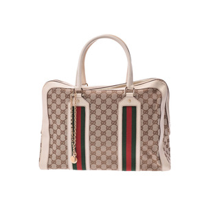 Gucci Tote Bag Beige / Ivory Ladies Men's GG Canvas Leather B Rank GUCCI Used Ginza