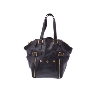 Saint Laurent Downtown Black Ladies Men's Leather Handbag B Rank SAINT LAURENT Used Ginza