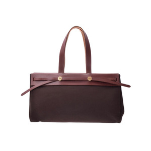HERMES AIR BAG CABAS MM Dark Brown □ F Engraved Ladies Men's Canvas Tote B Rank HANMES Replacement Bag with Used Ginza