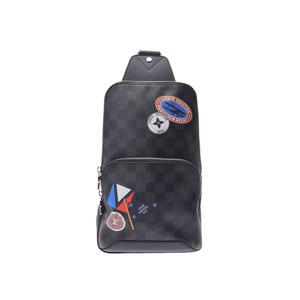 ルイヴィトン グラフィット アヴェニュー スリング トラベルステッカー 黒 N41056 メンズ 本革 ボディバッグ Aランク 美品 LOUIS VUITTON 中古 銀蔵