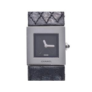シャネル マトラッセ 黒文字盤 レディース SS 革 クォーツ 腕時計 ABランク CHANEL 中古 銀蔵