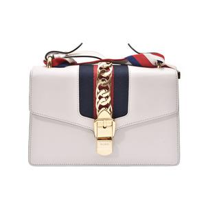 Gucci Silvi Small Shoulder Bag Ivory Ladies Calf Ribbon AB Rank GUCCI Used Ginza