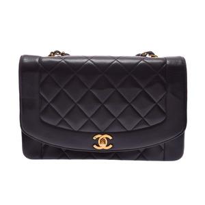 シャネル(Chanel) シャネル マトラッセ チェーンショルダーバッグ ダイアナ 黒 G金具 レディース ラムスキン ABランク CHANEL ギャラ 中古 銀蔵