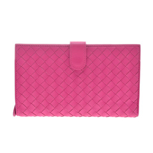 Bottega Veneta zipper purse fuchsia pink intorechat ladies lambskin A rank beautiful goods BOTTEGA VENETA second hand silver storage