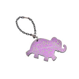 HERMES animal key holder elephant gray / purple ladies men's B rank secondhand silver krea