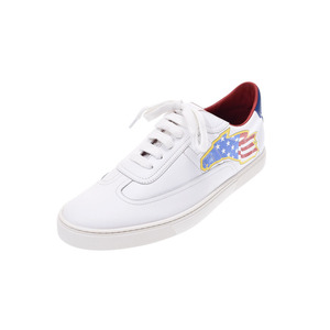 Hermes Quicky sneakers American only white / blue red size 43 Men's calf shoes new item HERMES change with silver stove