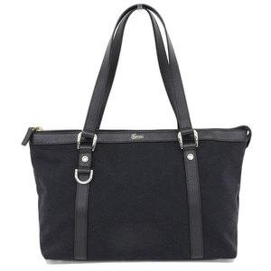 Genuine GUCCI Gucci GG canvas tote bag black navy pattern number: 141470 leather