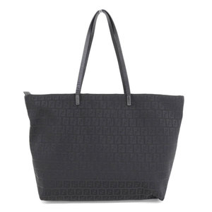 Genuine FENDI Fendi Zucchino Tote Bag Black Leather