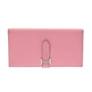 Hermes Barensfre Rose Confetti SV metal fitting □ R engraved ladies' chevre long wallet AB rank HERMES second hand silver storage
