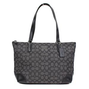 Coach COACH Signature Zip Top Tote Bag F29958 Smoke Black Women's