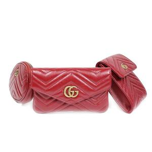 Gucci GUCCI GG Mermont Belt Bag 524597 Red Antique Gold Hardware Leather