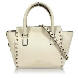 Valentino VALENTINO Leather Studs 2 Way Calfskin White Shoulder Bag