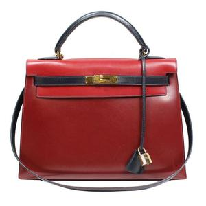 HERMES Kelly 32 Box Calf Rouge Ash × Blue Royale Gold Hardware ○ W Bright Handbag Women's