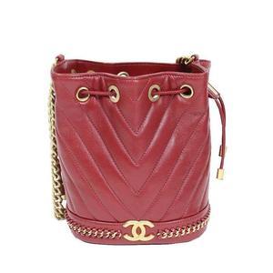 Chanel CHANEL V Stitch Drawstring Shoulder Bag Red Antique Gold Hardware Calfskin