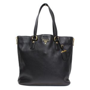 Prada PRADA leather tote bag BR4372 black gold hardware fittings ladies' beautiful goods