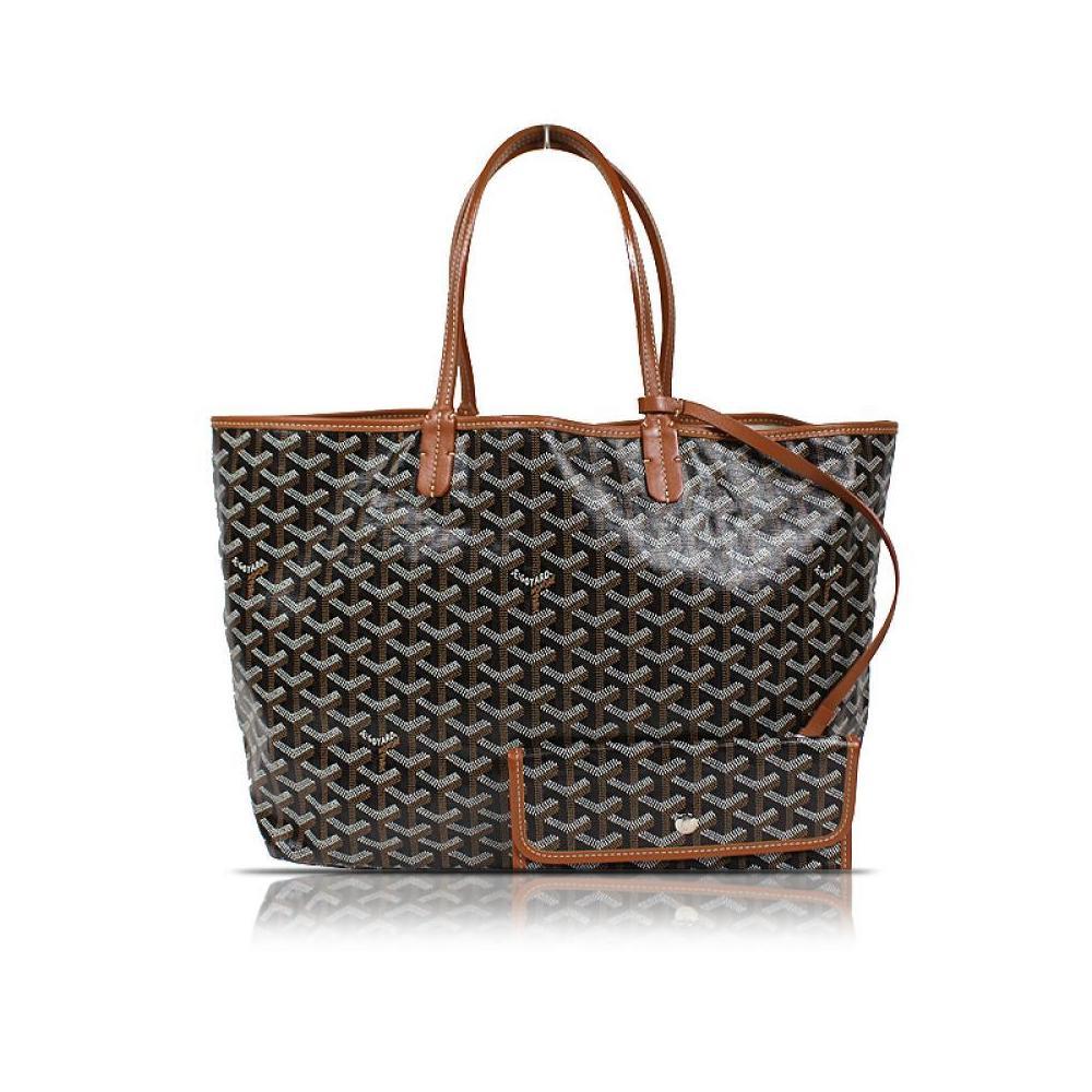 Goyar GOYARD Saint Louis PM Canvas Leather Black Handbag