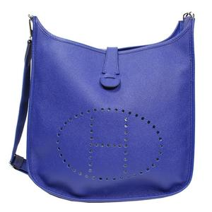 HERMES Evelyn Troyes GM Vaud Epson Blue Electric Silver Hardware T Shoulder Bag Women's