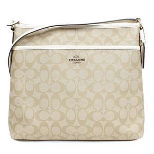 Coach COACH Signature File Shoulder Bag F58297 Light Khaki × Chalk Outlet