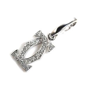 Cartier 2C diamond charm K18WG ladies pendant top jewelry finished