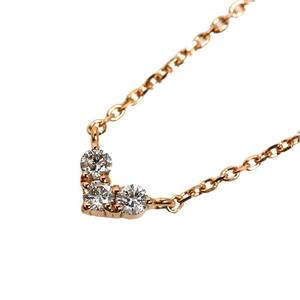 4 ℃ Heart necklace K18PG diamond ladies pendant jewelry finished