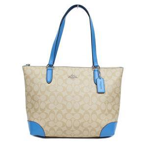 Coach COACH Signature Zip Tote Bag F29208 Light Khaki × Bright Blue Women's Outlet