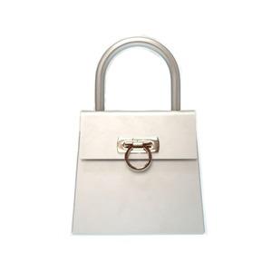 Salvatore Ferragamo Gancini Handbag Silver Bag 0291 Women's