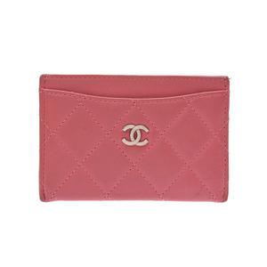 Chanel Matrasse Card Case Pink SV Hardware Ladies Lambskin B Rank CHANEL Box Gala Used Ginza